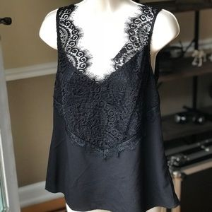French Connection Black Lace Low Cut Top Small